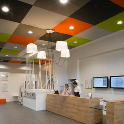 Stereo acoustic panels suspended in clusters | Acoustic ceiling systems | Texaa?