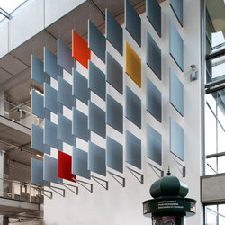 Stereo acoustic panels as baffles | Sistemas fonoabsorbentes de pared | Texaa®