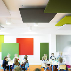 Stereo acoustic panels suspended | Sound absorbing ceiling systems | Texaa®