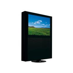 Drehbarer TV-Ständer mit rundem Metallsockel. Tür aus schwarzem Glas ...