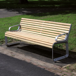 portiqoa | Park bench with backrest and armrests | Panche da esterno | mmcité