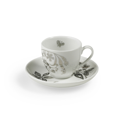 "TABLESTORIES PLATINUM espresso cup with saucer ""Butterfly Play"" 