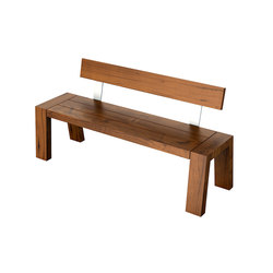 Solo Collection | Bench with Backrest 160 | Bancs de jardin | Viteo