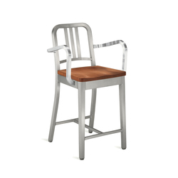 Navy® Counter stool with arms and natural wood seat | Barhocker | emeco