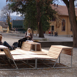 Landscape bench with backrest Larch | Exterior benches | BURRI