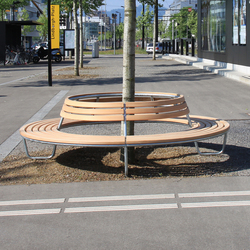 Landi Round Bench with backrest | Exterior benches | BURRI