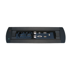 Design Line desk connector panel | Prese Schuko | KOMTECH