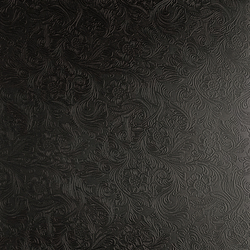 Tactile Black damask | Azulejos de pared de cuero natural | Nextep Leathers