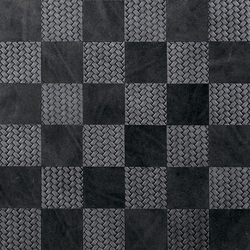 Kaleidos Mosaics black-braid-chips | Natural leather wall tiles | Nextep Leathers