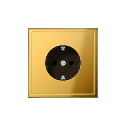LS 990 gold coloured socket | Prese Schuko | JUNG