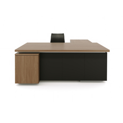 Brand L-desk wood leather | Bureaux individuels | M2L