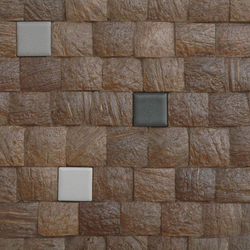 Cocomosaic tiles espresso grain with ceramic mix 102 | Dalles en coco | Cocomosaic