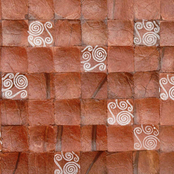 Cocomosaic tiles brown bliss with spiral white stamp | Mosaici in noce di cocco | Cocomosaic