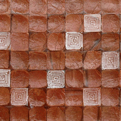 Cocomosaic tiles brown bliss with square white stamp | Mosaïques en coco | Cocomosaic