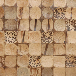 Cocomosaic tiles natural bliss with spiral brown stamp | Mosaïques en coco | Cocomosaic