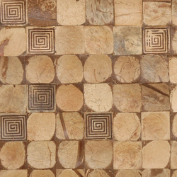 Cocomosaic tiles natural bliss with square brown stamp | Mosaïques en coco | Cocomosaic