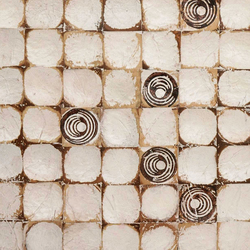 Cocomosaic wall tiles white patina with oval brown stamp | Mosaïques en coco | Cocomosaic