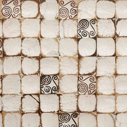 Cocomosaic wall tiles white patina with spiral brown stamp | Mosaïques en coco | Cocomosaic