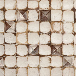 Cocomosaic wall tiles white patina with square brown stamp | Mosaïques en coco | Cocomosaic