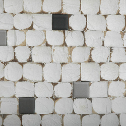 Cocomosaic all tiles white patina with ceramic mix 102 | Mosaïques en coco | Cocomosaic