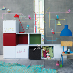 q18_children_ice blue_high red | Kids storage furniture | qubing.de