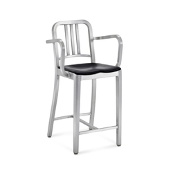 Navy® Counter stool with arms seat pad | Barhocker | emeco
