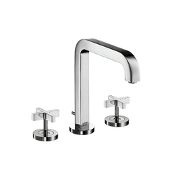 AXOR Citterio 3-Hole Basin Mixer with cross handles and spout 205mm DN15 | Wash basin taps | AXOR