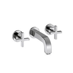 AXOR Citterio 3-Hole Basin Mixer for concealed installation with cross handles escutcheons and spout 222mm DN15 wall mounting | Wash basin taps | AXOR