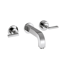 AXOR Citterio 3-Hole Basin Mixer for concealed installation with lever handles, escutcheons and spout 222mm DN15, wall mounting | Wash basin taps | AXOR