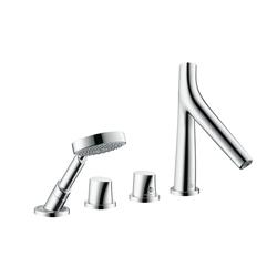 AXOR Starck Organic Grifería de 4 agujeros con termostato | Grifería para bañeras | AXOR
