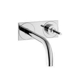 AXOR Uno Single Lever Basin Mixer for concealed installation with plate and spout 165 mm wall mounting DN15 | Wash basin taps | AXOR
