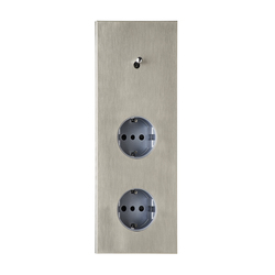 Sydney NB nickel brossé | Switches with integrated sockets (Schuko) | Luxonov