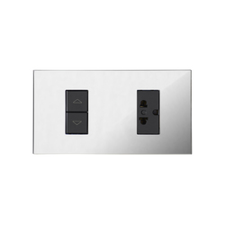 Paris CH chrome miroir | Switches with integrated sockets (Schuko) | Luxonov