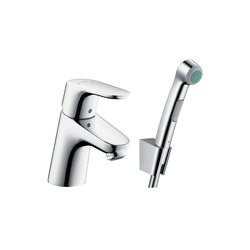 hansgrohe Focus Bidette 1jet hand shower/ Focus 70 single lever basin mixer set 1.60 m | Wash basin taps | Hansgrohe