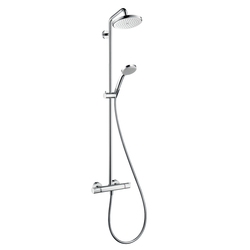 Hansgrohe Croma 220 Showerpipe EcoSmart with shower arm 400 mm swivelling DN15 | Shower columns / panels | Hansgrohe