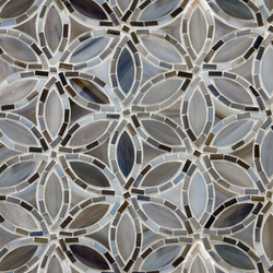 Flapper Floral Detroit Blues Glass Mosaic | Wall mosaics | Artistic Tile