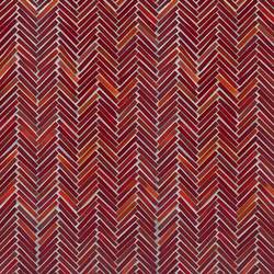 Hip Herringbone Red Hot Mama Glass Mosaic | Wall mosaics | Artistic Tile
