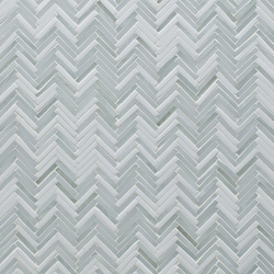 Hip Herringbone Be Bop White Glass Mosaic | Carta parati / tappezzeria | Artistic Tile