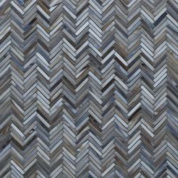 Hip Herringbone Detroit Blues Glass Mosaic | Wall mosaics | Artistic Tile