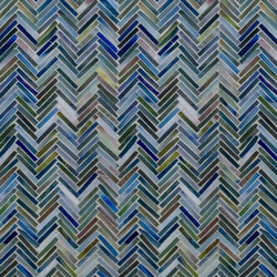 Hip Herringbone Peacock Blue Glass Mosaic | Wall mosaics | Artistic Tile