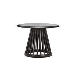Fan Table Black Base Black Oak Top 600mm | Tavolini alti | Tom Dixon