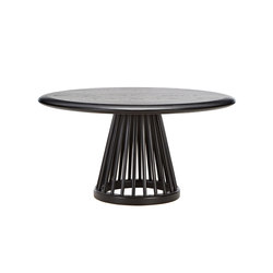 Fan Table Black Base Black Oak Top 900mm | Lounge tables | Tom Dixon