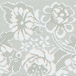 Decor 20x20 Lace Flowers Grey | Glass mosaics | Mosaico+