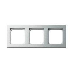 Frame 3-gang brushed aluminium | Socket outlets | Basalte