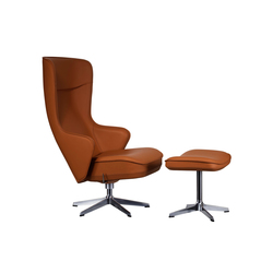 Norma Swivel chair with footstool | Lounge chairs con poggiapiedi | Swedese