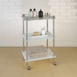 Tavolino | white glass | Bath shelving | Aquadomo