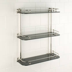 Wall shelf | black glass | Bath shelving | Aquadomo