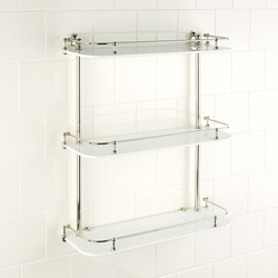 Wall shelf | white glass | Bath shelving | Aquadomo