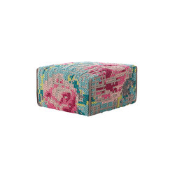 Canevas Pouf Square Flowers Colour 9 | Poufs / Polsterhocker | GAN