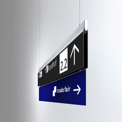 Signage System Messe Basel by BURRI – Ceilign sign | Media displays | BURRI